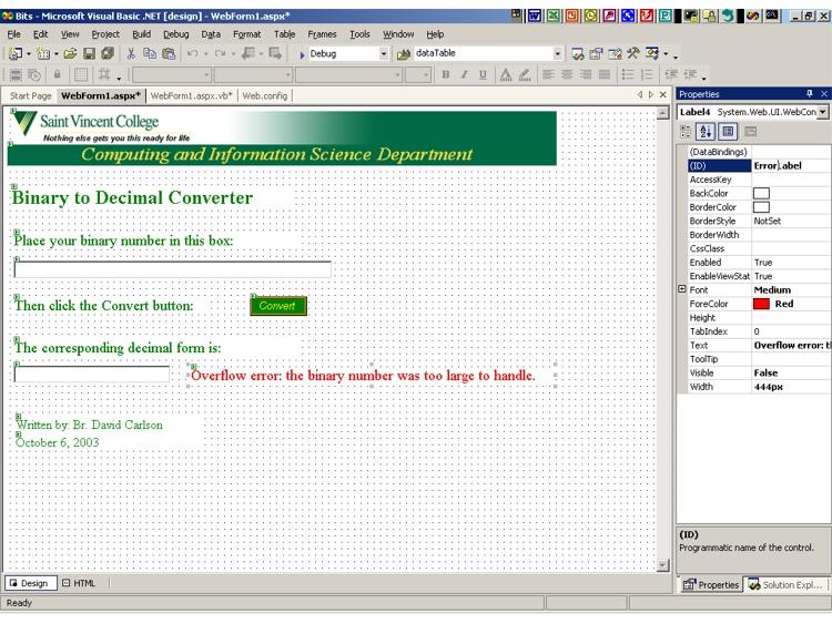 CIS Department > Tutorials > ASP  NET Web Apps > VB 2003 > Web App